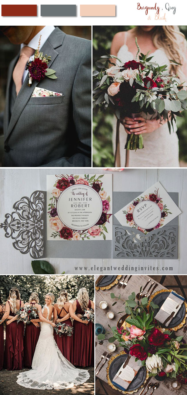 burgundy, blush and dark grey woodland wedding color ideas