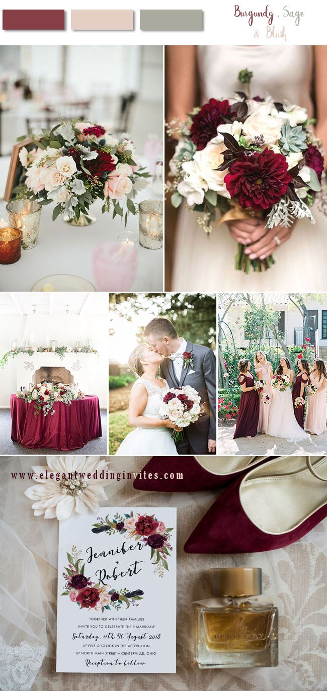 burgundy,blush with dusky miller wedding color combos