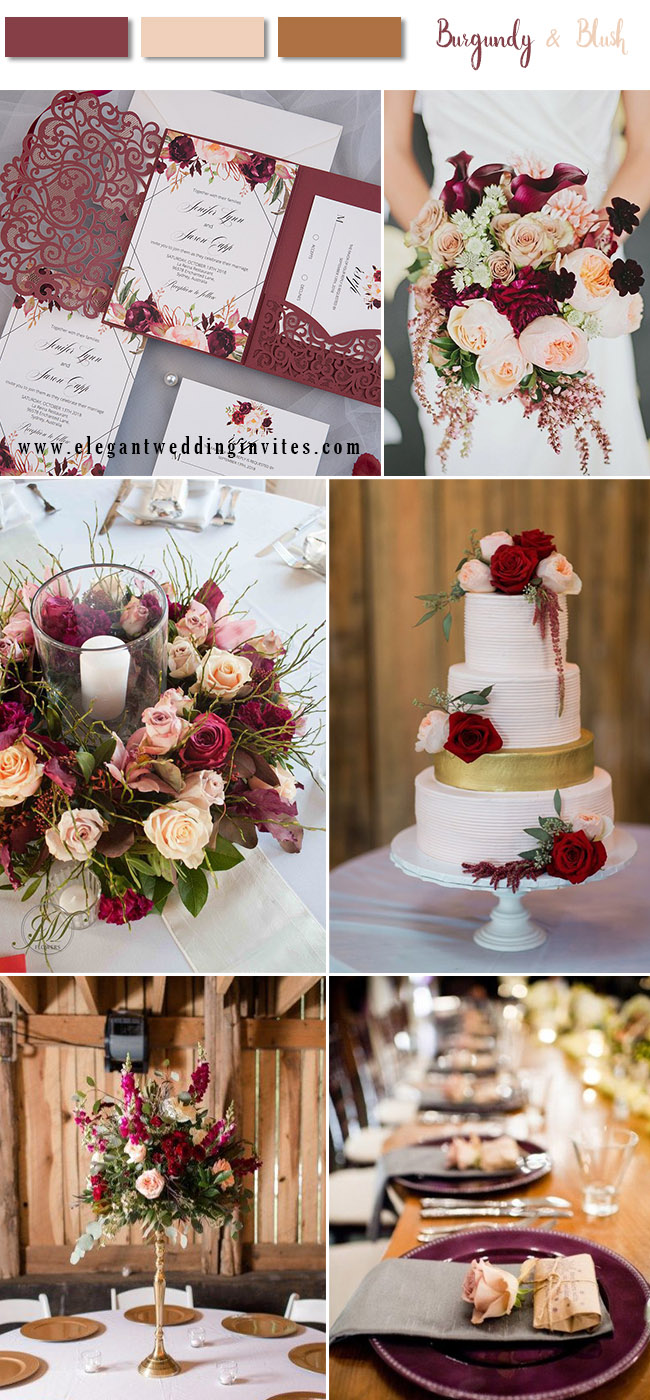 b6c9a4032a83 8 Stunning Fall   Winter Wedding Color Combos with Burgundy   Blush ...