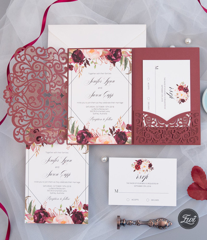 burgundy laser cut pocket fold with floral and geometric invitation
