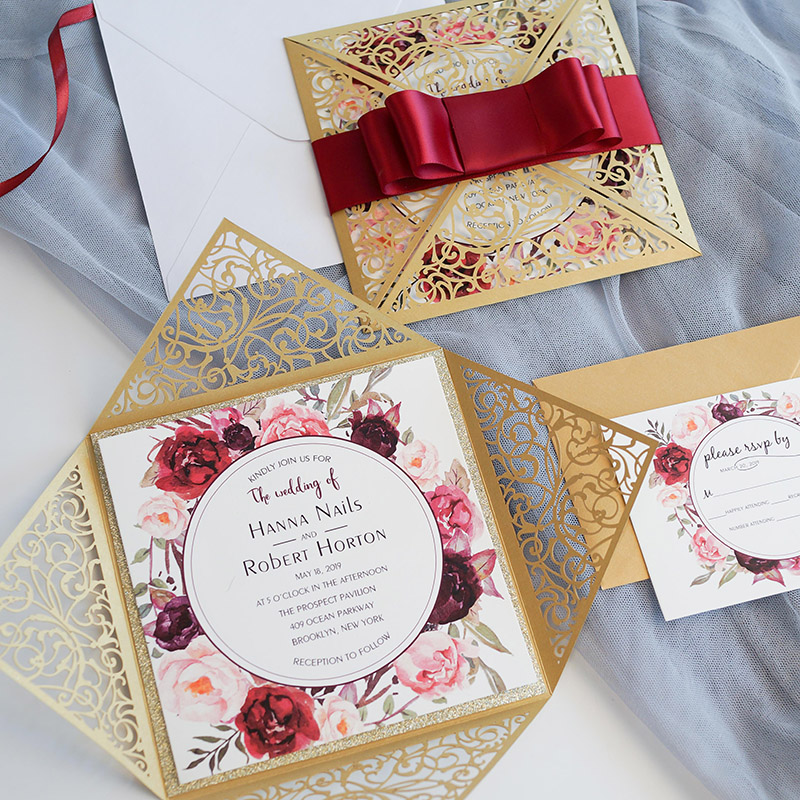 burgundy,blush and champagne laser cut wedding invitation