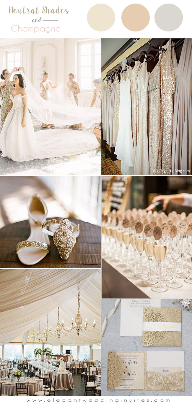 champagne gold and neutral shades glamorous wedding color ideas