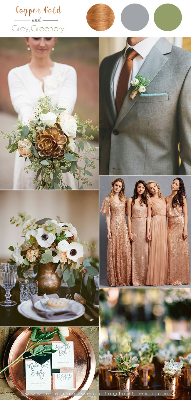 copper gold,grey and greenery fall wedding color combos