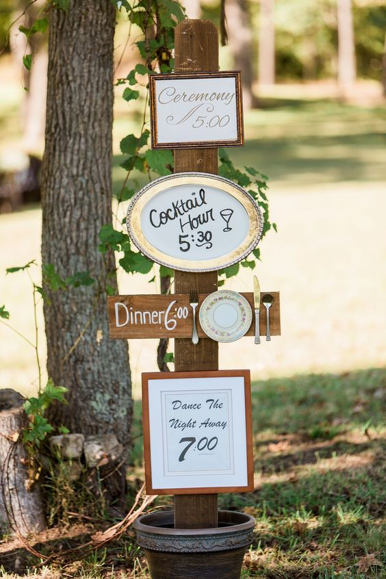 creative diy frame made wedding time table ideas