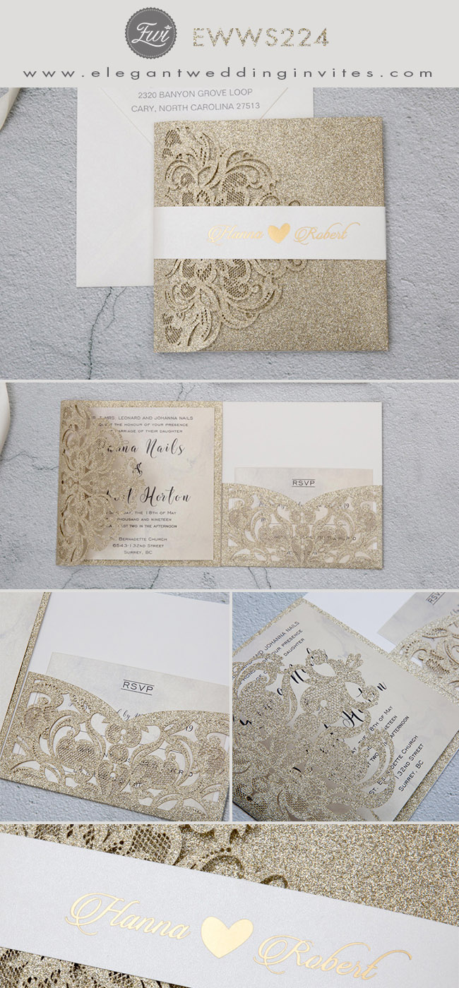 deluxe tri-fold champagne gold laser cut wedding invitations
