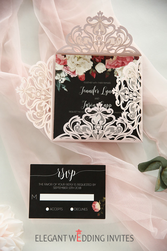 elegant and vintage black,red and blush laser cut wedding invitations
