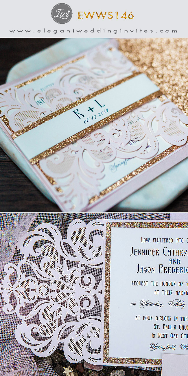 elegant blush pink laser cut wedding invitation with glittery gold glitter belly band
