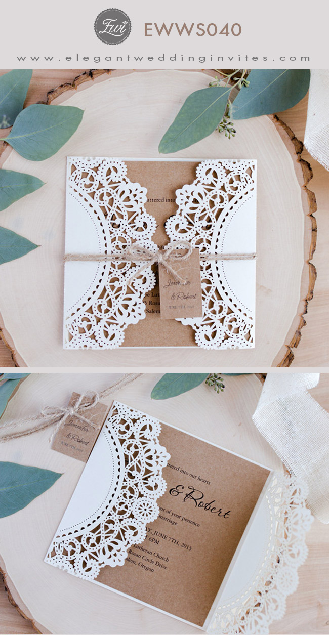 elegant rustic laser cut wedding invitations with tag