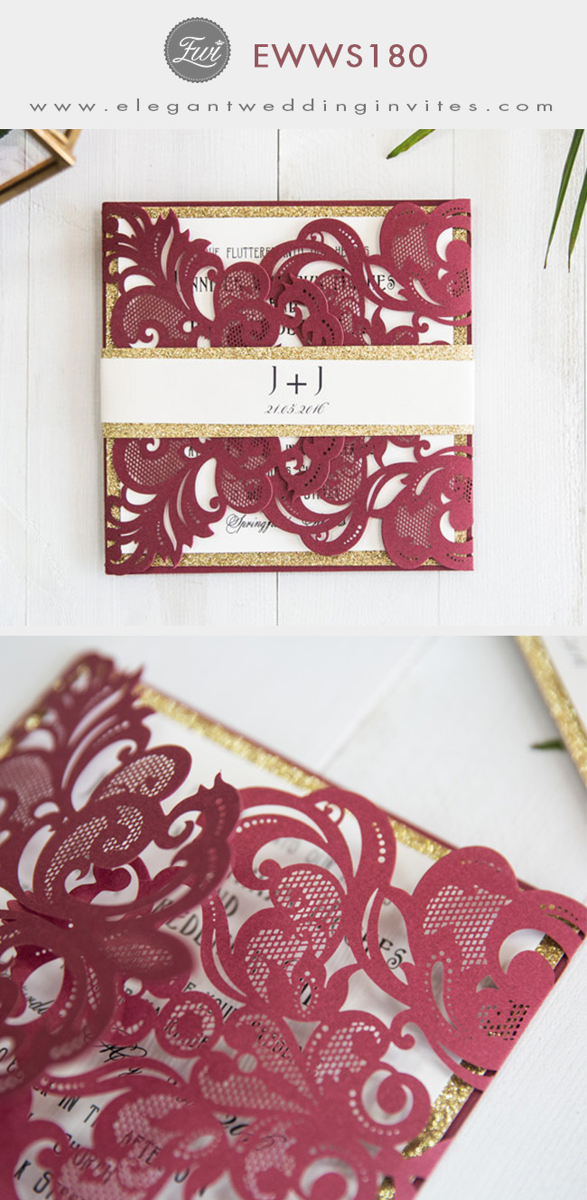 fall burgundy laser cut wedding invitations with gold glittery belly band