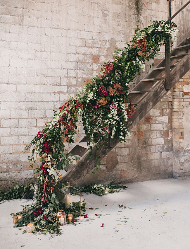 floral wedding stair decoration ideas for industrial weddings