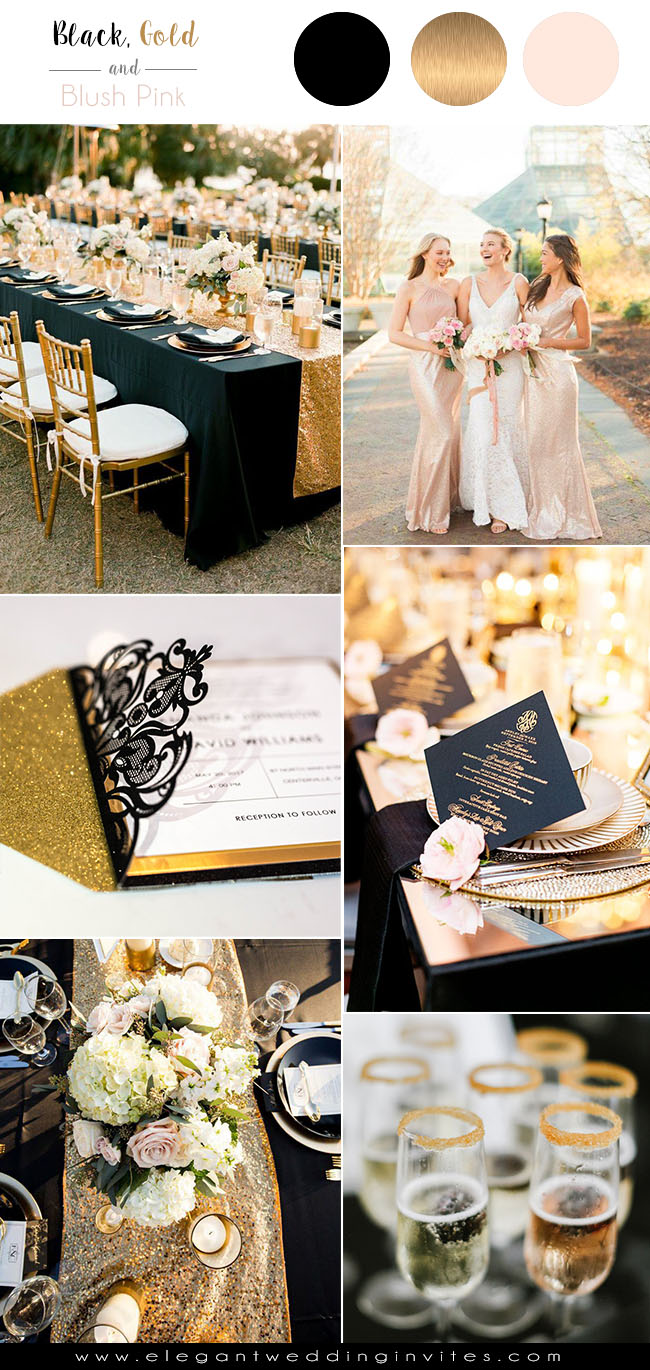 glamorous black,gold and blush wedding color palettes