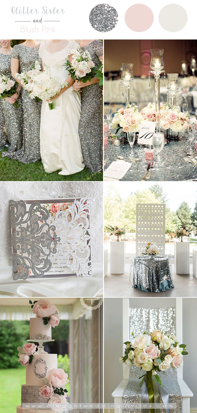 glamorous glitter silver and blush wedding colors