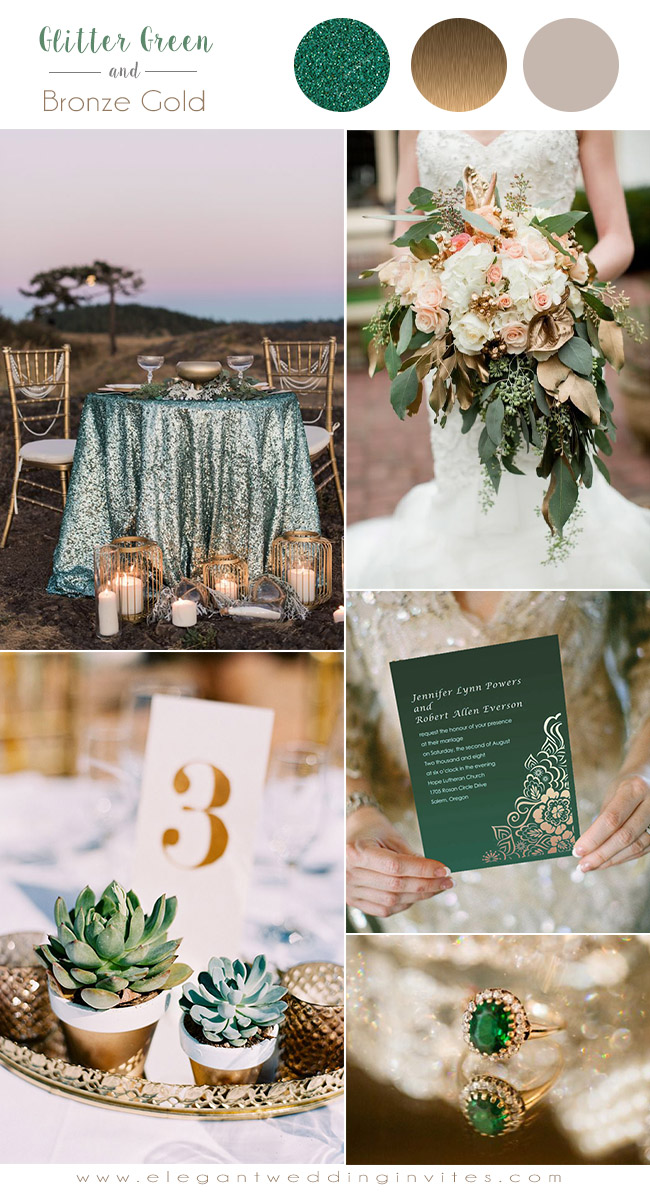 glittery green and bronze gold shades wedding colors