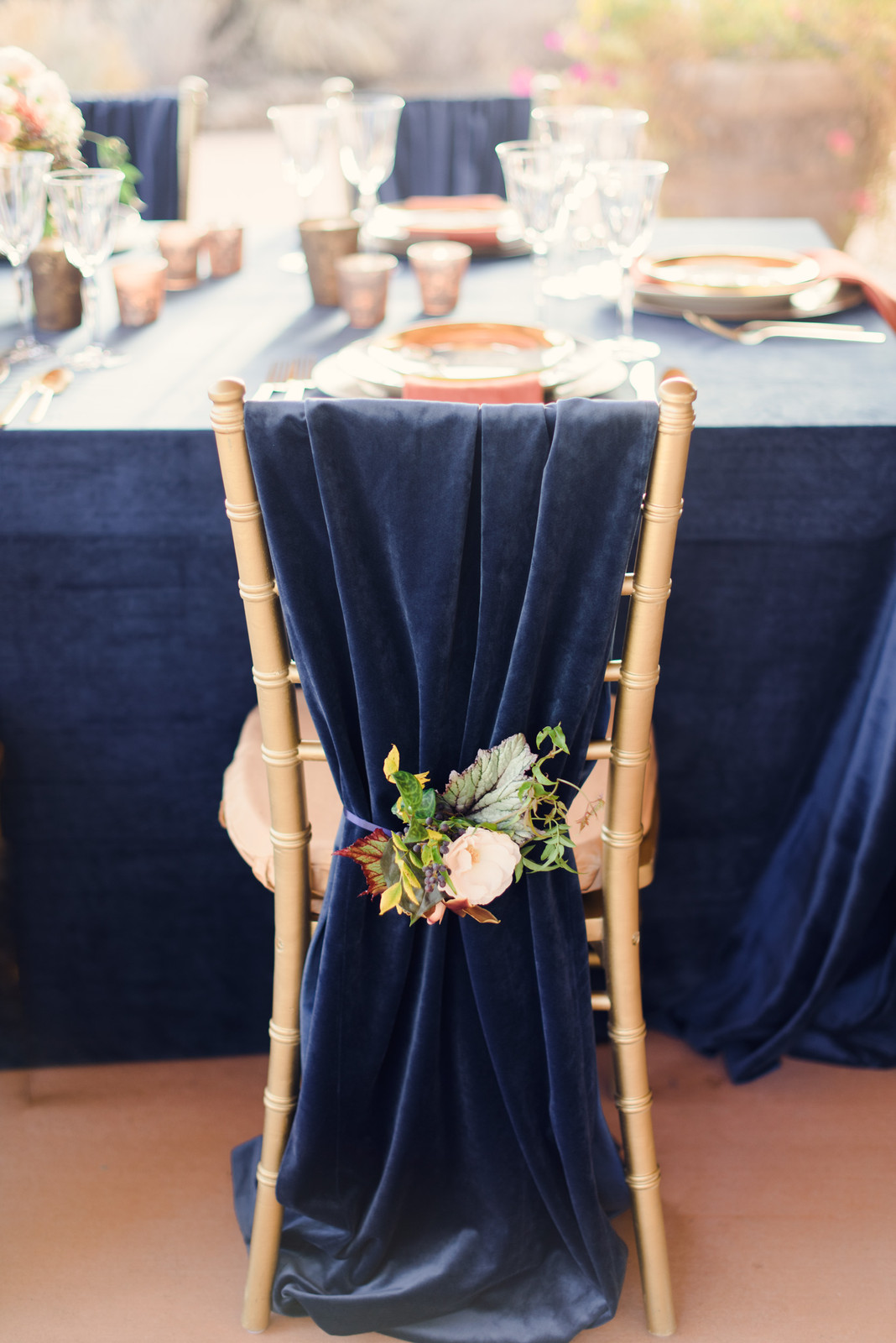 graceful navy blue fabric wedding chair decor ideas