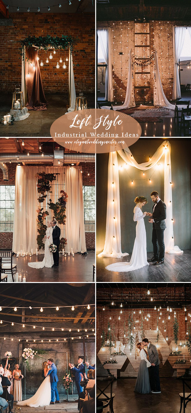 loft-style industrial wedding ceremony backdrops with romantic lights decoration
