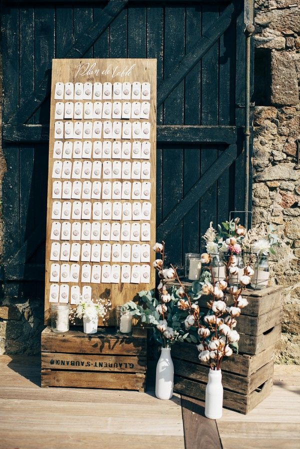 long wooden seating chart board for rusitc weddings