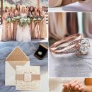 7 Classic Metallic Theme Wedding Colors with Glittery Invitations Ideas
