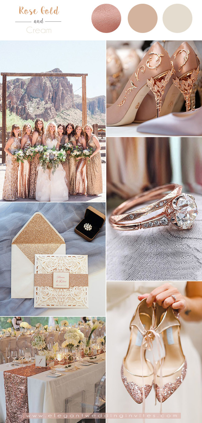 luxurious rose gold and cream white wedding color combos