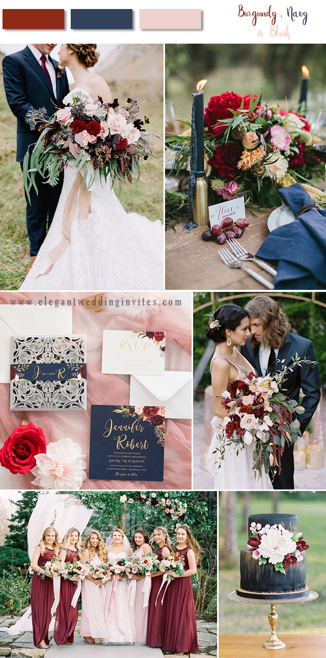 navy, burgundy and blush classic fall wedding color palette