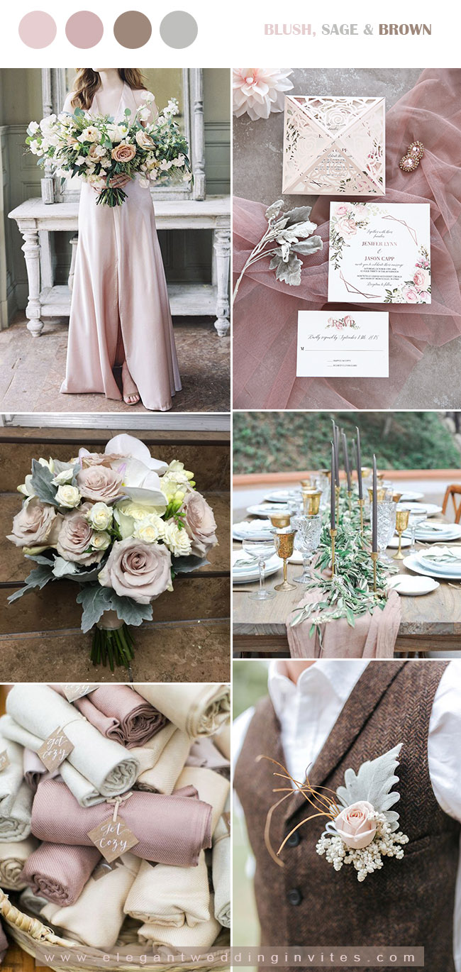 nude blush and brown fall wedding color ideas