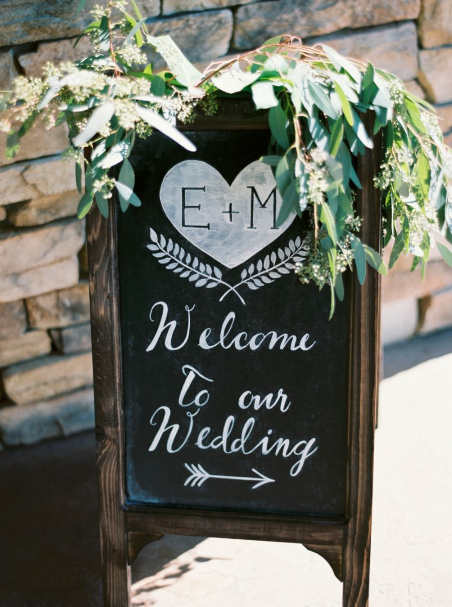 organic inspired chalkboard welcome wedding signs