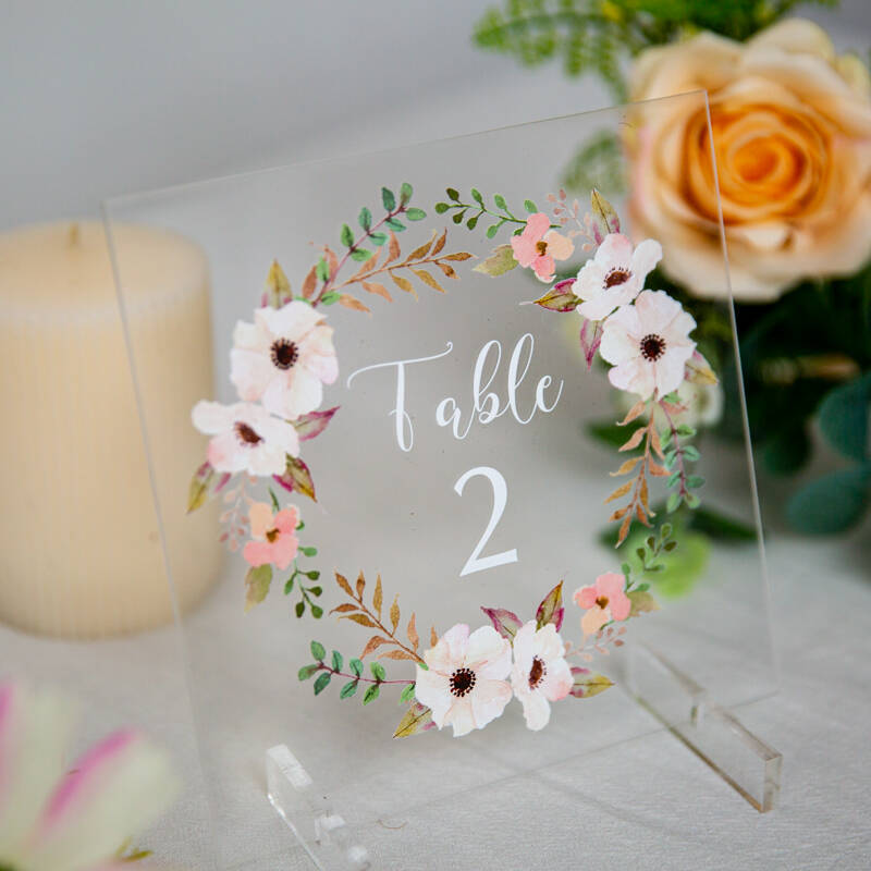 pink flower circle acrylic wedding table number