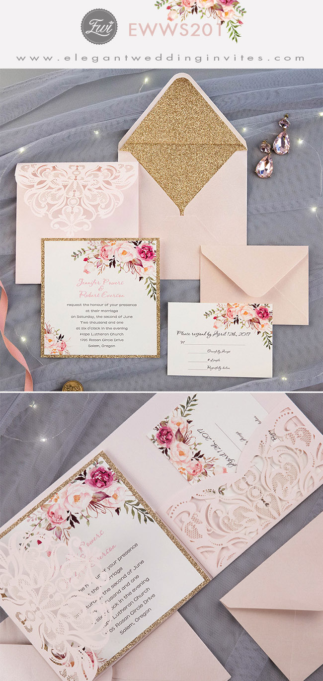 romantic blush pink flower glittery laser cut pocket wedding invitation kits