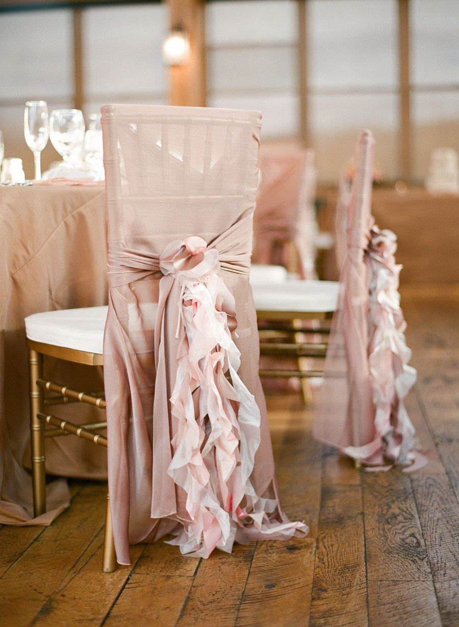 romantic dusty rose chiffon ruffles chair sash for weddings