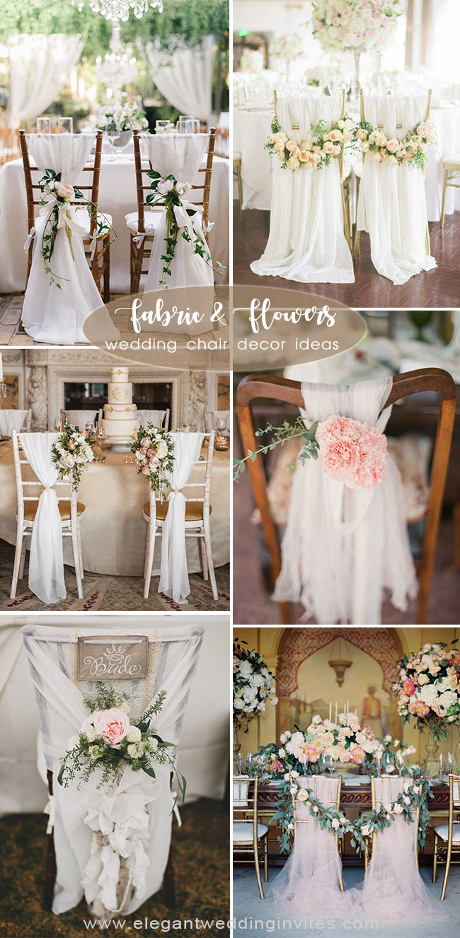 romantic garden inspired fabric and flower wedding chair decoration Ideas