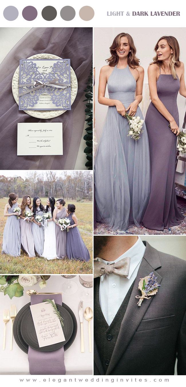 romantic light and dark lavender ppurple fall wedding colors