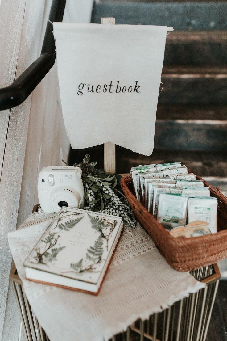 rustic fabric wedding guestbook sign