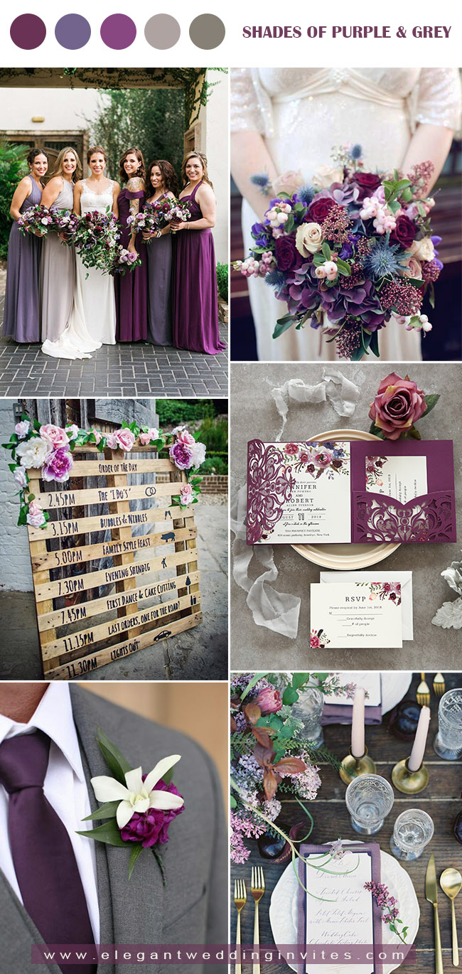 shades of purple and dark grey fall wedding colo palette