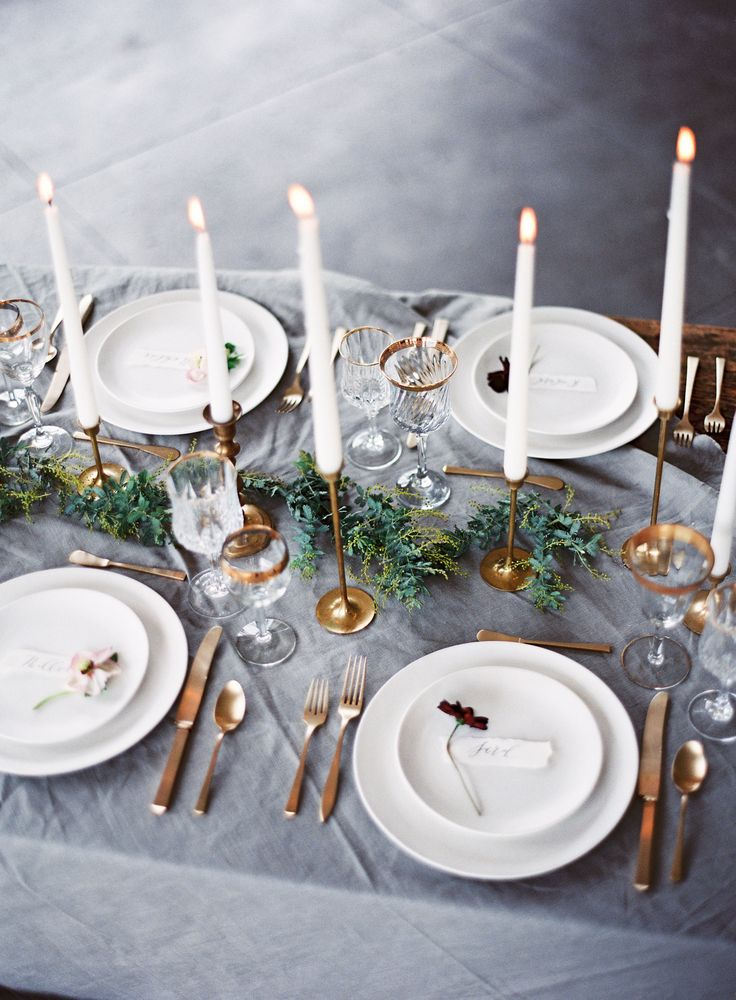 simple and modern metallic table setting inspiration for industrial chic weddings