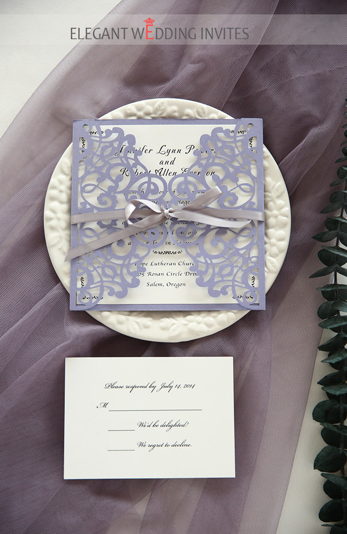 simple and romantic lavender laser cut wedding invitations