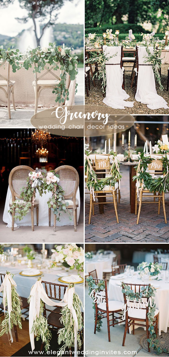 simple organic and greenery wedding chair decoration ideas