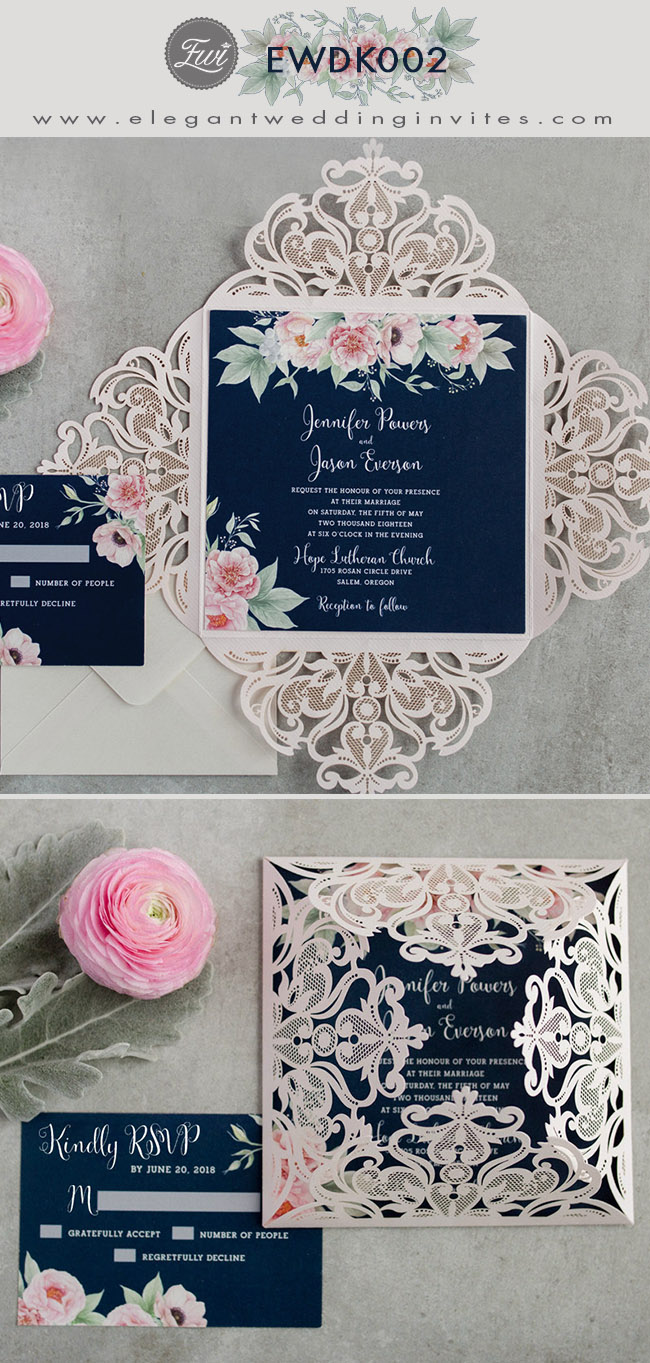 stunning blush pink flower and navy blue shade laser cut wedding invitations