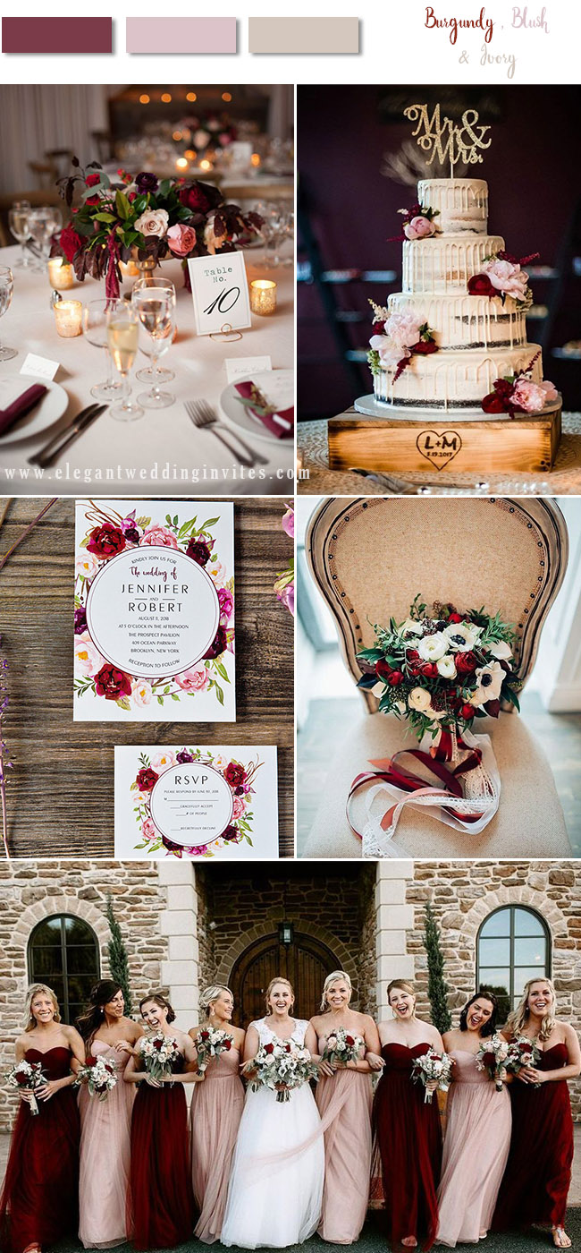 stunning burgundy,blush and ivory wedding color palette