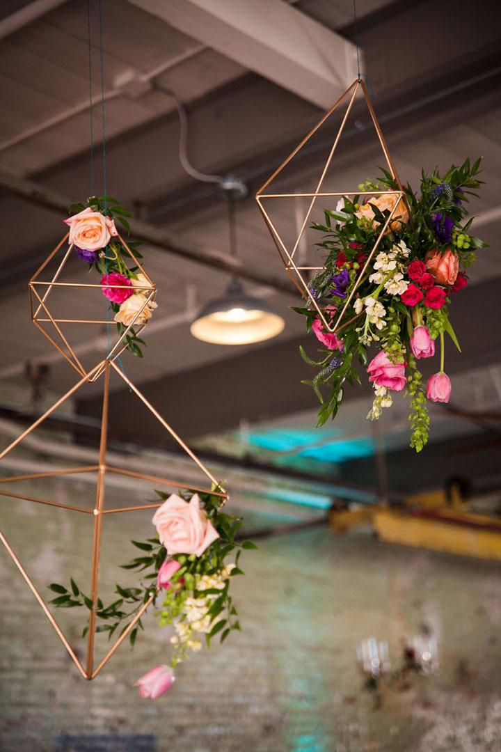 suspended floral geo shapes for chic industrial wedding decoration ideas