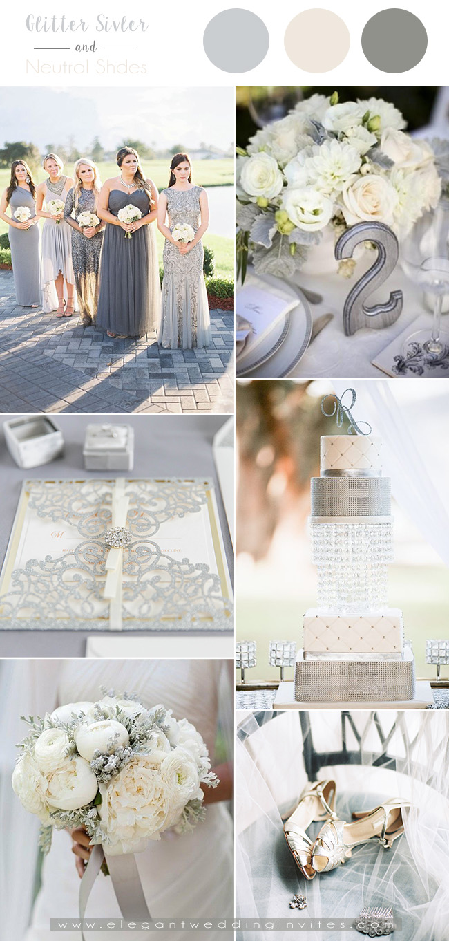 vintage inspired shades of silver glittery wedding theme ideas