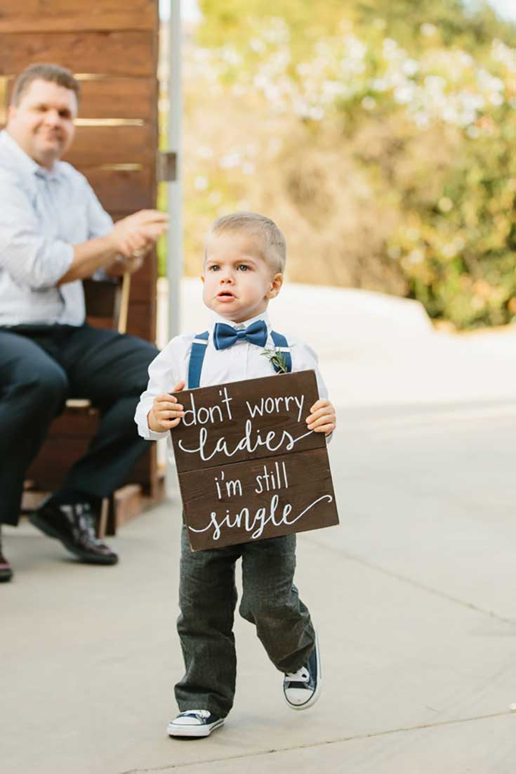 wood wedding ring bearer signs