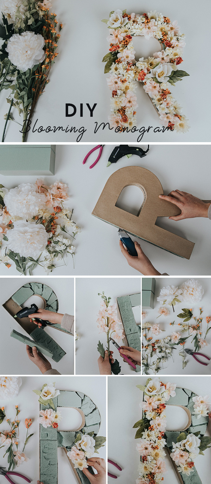 DIY blooming monogram letters for home and wedding decoration