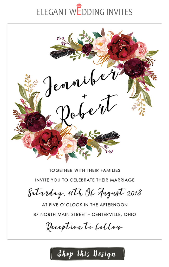 EWI burgundy and blush floral wedding invitation card