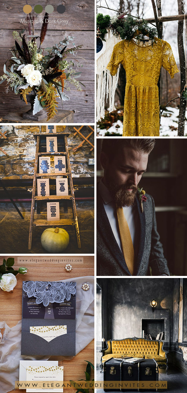 Moody black, dark grey and mustard yellow fall and winter wedding colors