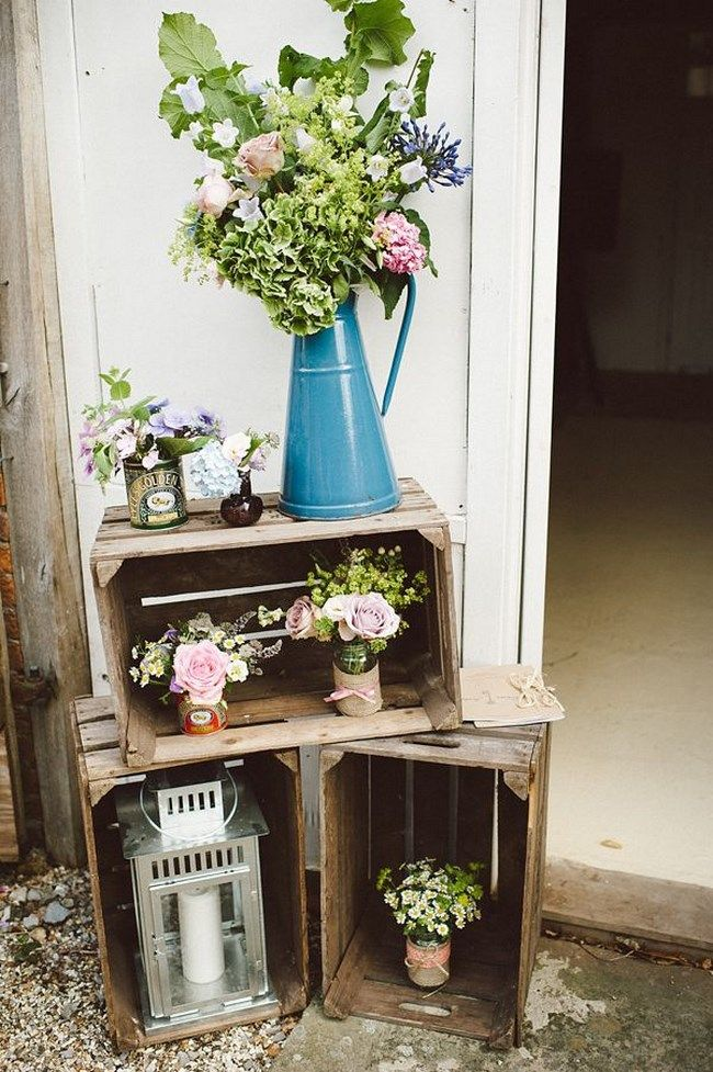 Rustic Wooden Crate Wedding Decoration with Flowers and Lanterns