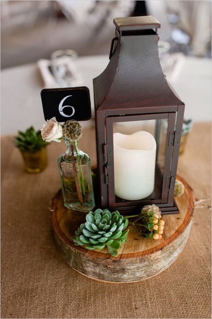 Wedding Lantern and Succulent Vintage Wedding Centerpieces