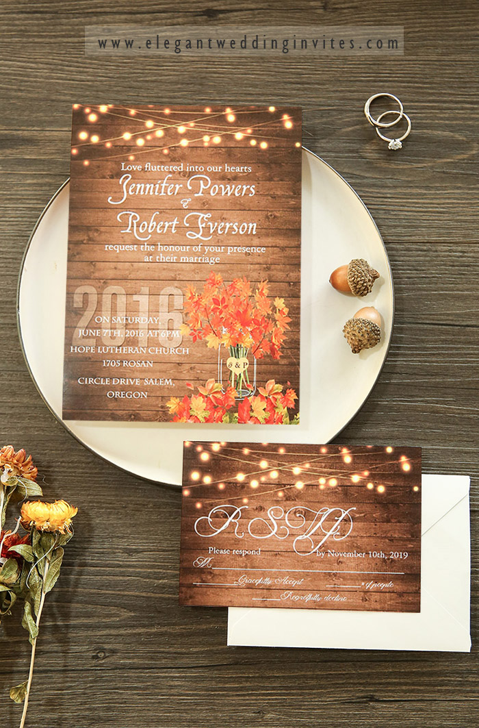 affordable maple leave fall wedding invitation cards
