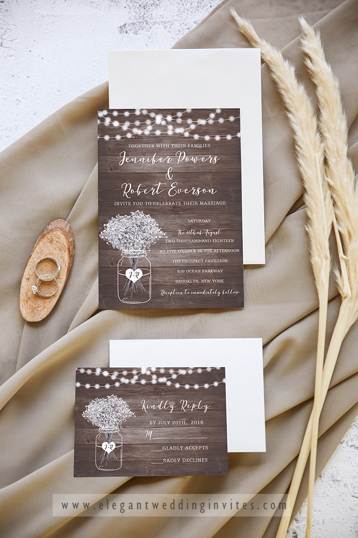 affordable rustic oldwood winter wedding invitation card