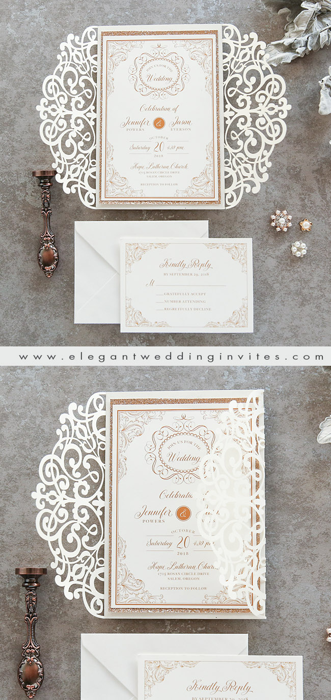 classic and formal laser cut wedding invitation with rose gold backer