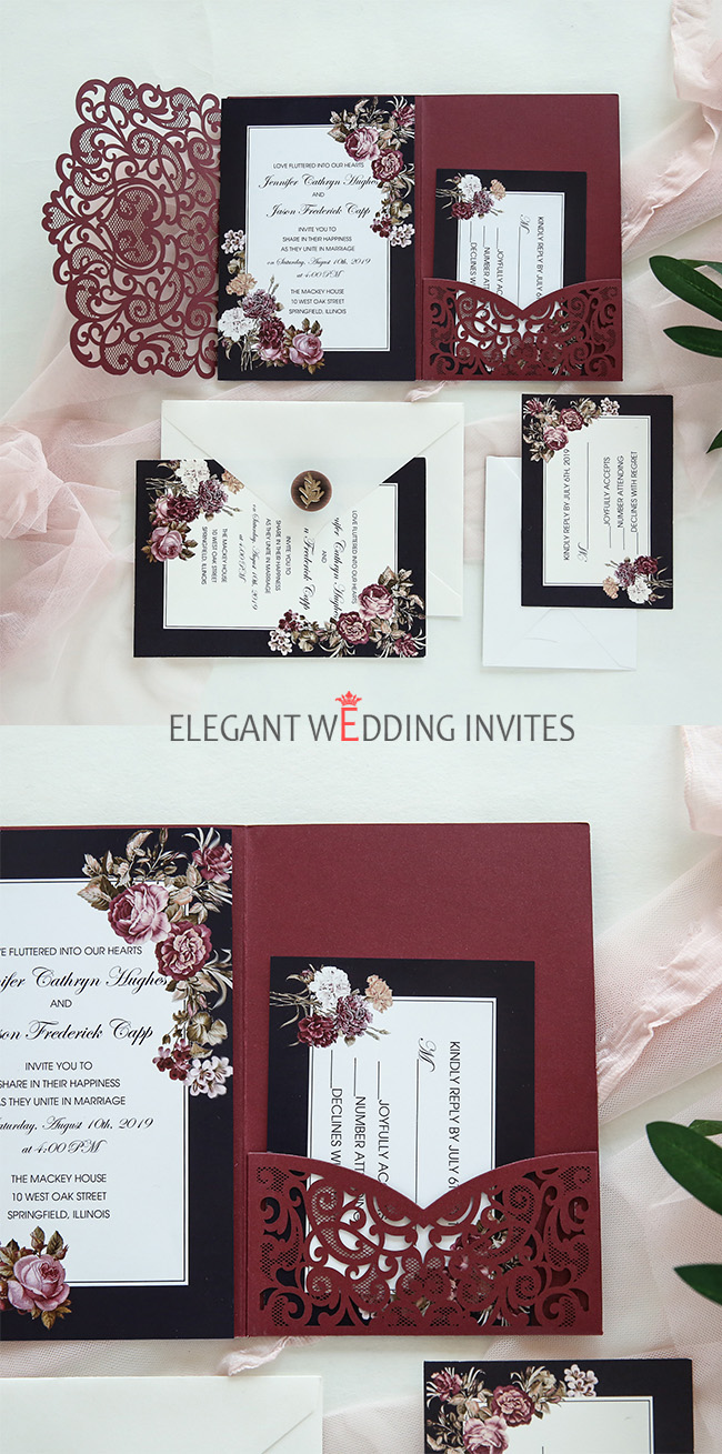 classic wine red laser cut wedding invitations