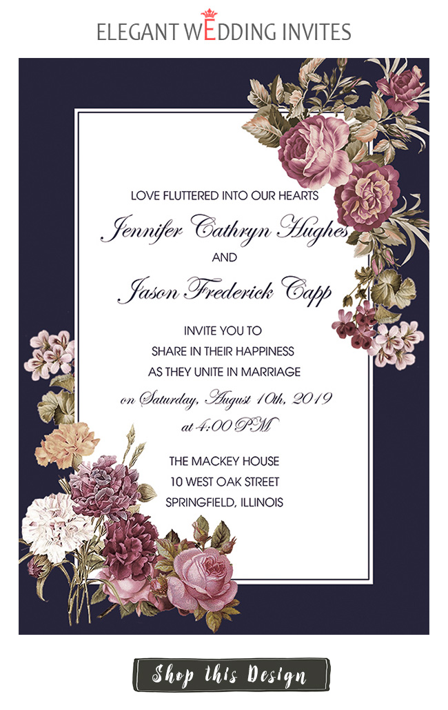 dark navy and floral frame fall wedding invitation card